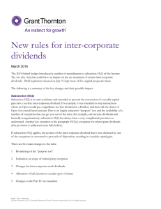 New rules for inter-corporate dividends