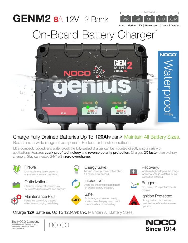 GEN1 NOCO Smart Battery Charger Info Sheet