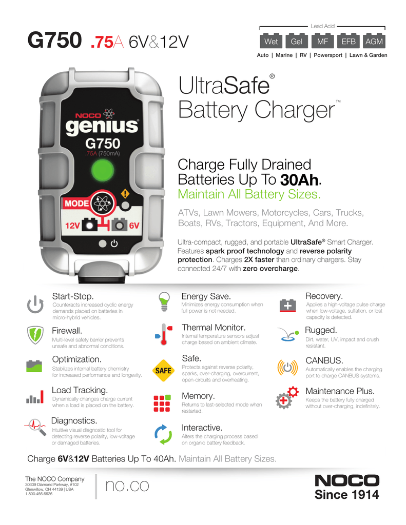 G750 NOCO Smart Multipurpose Battery Charger Info