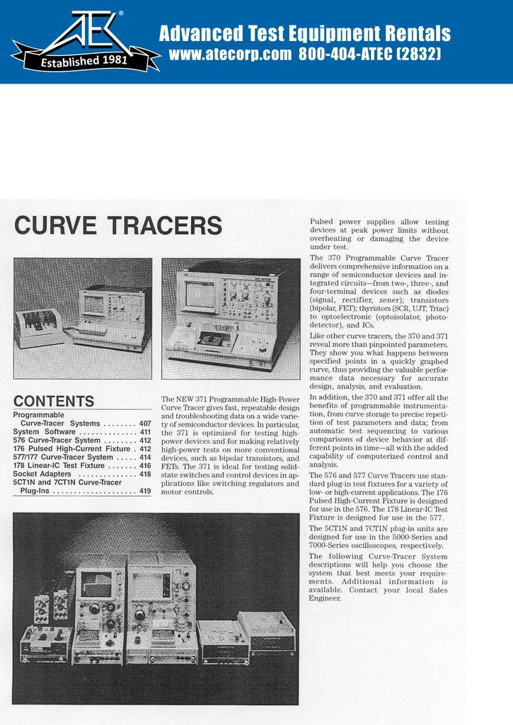 curve tracers - Advanced Test Equipment Rentals
