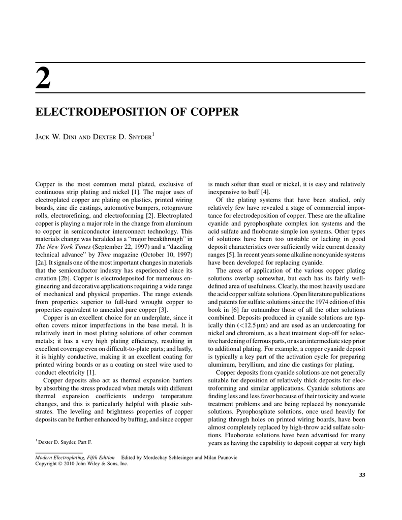 Electrodeposition of Copper