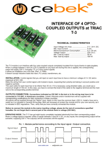 INTERFACE OF 4 OPTO- COUPLED OUTPUTS at TRIAC T-3