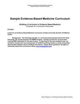 Sample Evidence-Based Medicine Curriculum