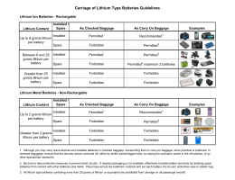 Carriage of Lithium Type Batteries Guidelines