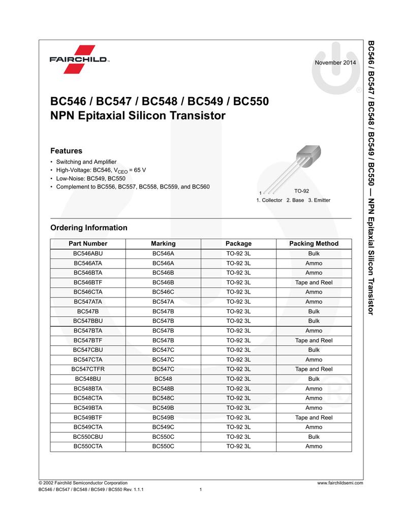 BC546, BC547, BC548, BC549, BC550