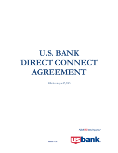 U.S. BANK DIRECT CONNECT AGREEMENT