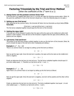 Worksheets Factoring Review Worksheet factoring review worksheet trinomials by the trial and error method