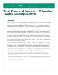 Trial, Error, and Success in Colorado`s Payday Lending Reforms