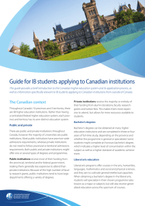 Guide for IB students applying to Canadian institutions