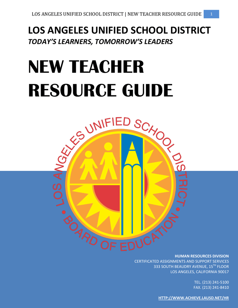New Teacher Resource Guide Los Angeles Unified School District