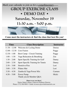 GROUP EXERCISE CLASS • DEMO DAY • Saturday, November 19