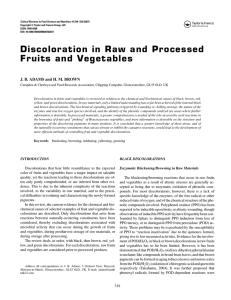Discoloration in Raw and Processed Fruits and Vegetables