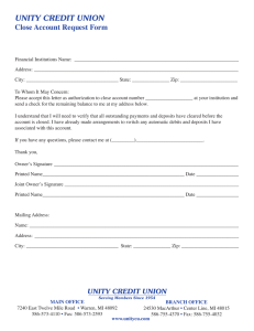 UNITY CREDIT UNION Close Account Request Form