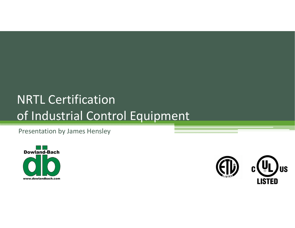 Nrtl certification presentation xflitez Choice Image