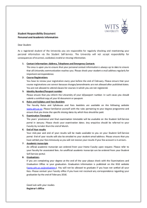 Student Responsibility Document Personal and Academic information