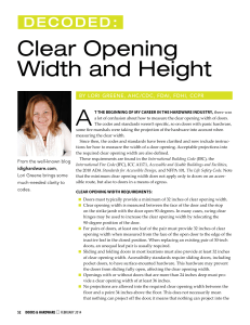 Clear Opening Width and Height