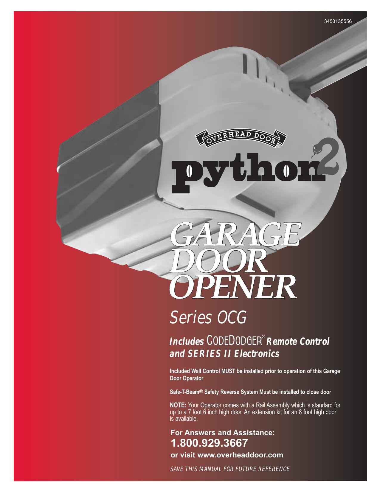 Python 2 Garage Door Opener Owner S Manual