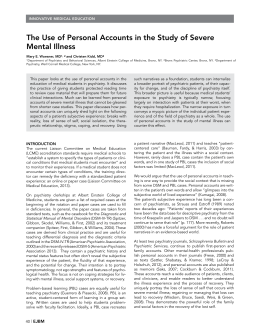 The Use of Personal Accounts in the Study of Severe Mental Illness