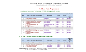 M.Sc Programmes Full Time - Jawaharlal Nehru Technological