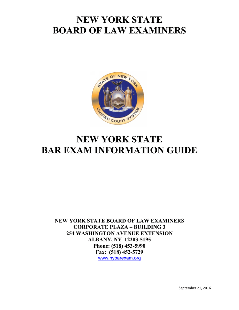 Bar Exam Information Guide - bole- official page new york