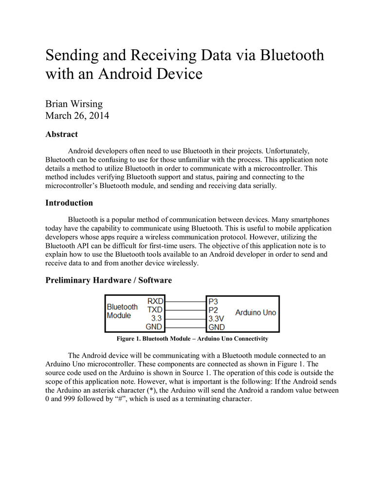 Sending and Receiving Data via Bluetooth with an Android