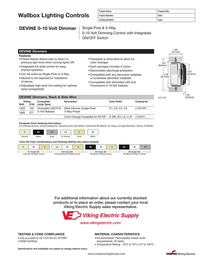 DEVINE 0-10 Volt Dimmer - DF10P on