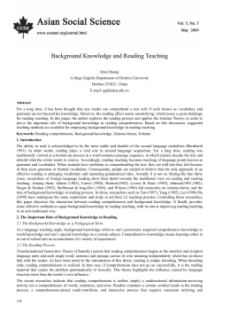 Background Knowledge and Reading Teaching