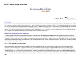 Background Knowledge: FOR-PD Reading Strategy of the Month