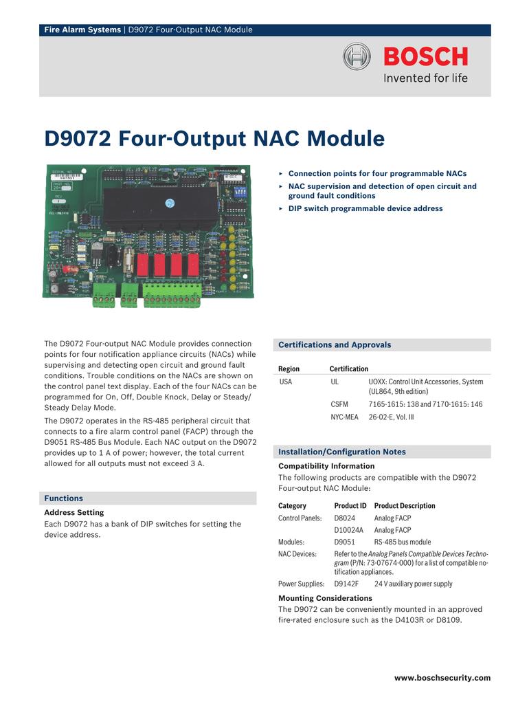 D9072 Fouroutput Nac Module