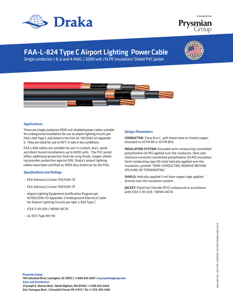 FAA-L-824 Type C Airport Lighting Power Cable