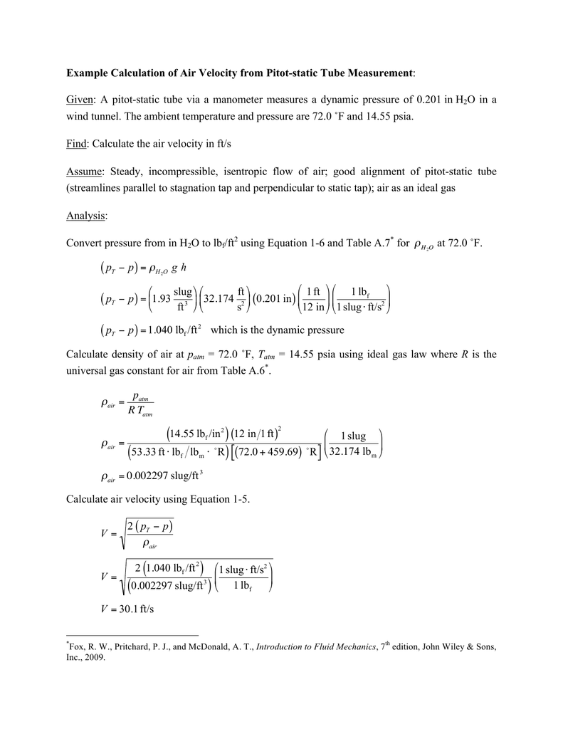 Example Calculation of Air Velocity from Pitot-static Tube