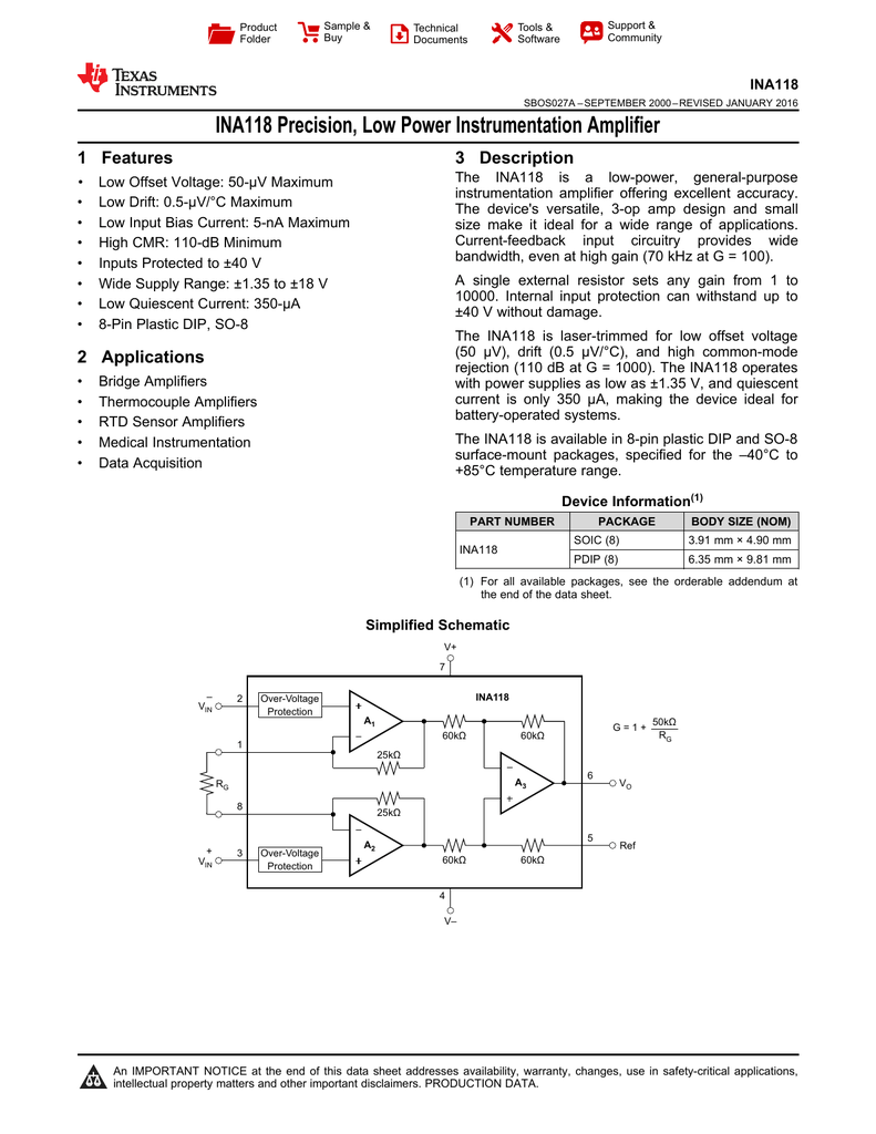 Ina118 Precision Low Power Instrumentation Amplifier Rev A Software Three Opamp Circuit Simulation