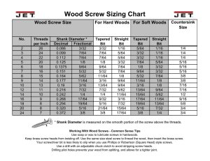 Wood Screw Sizing Chart