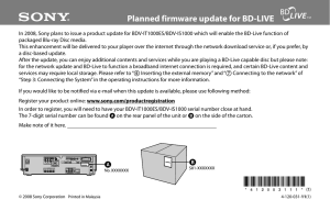 Planned firmware update for BD-LIVE