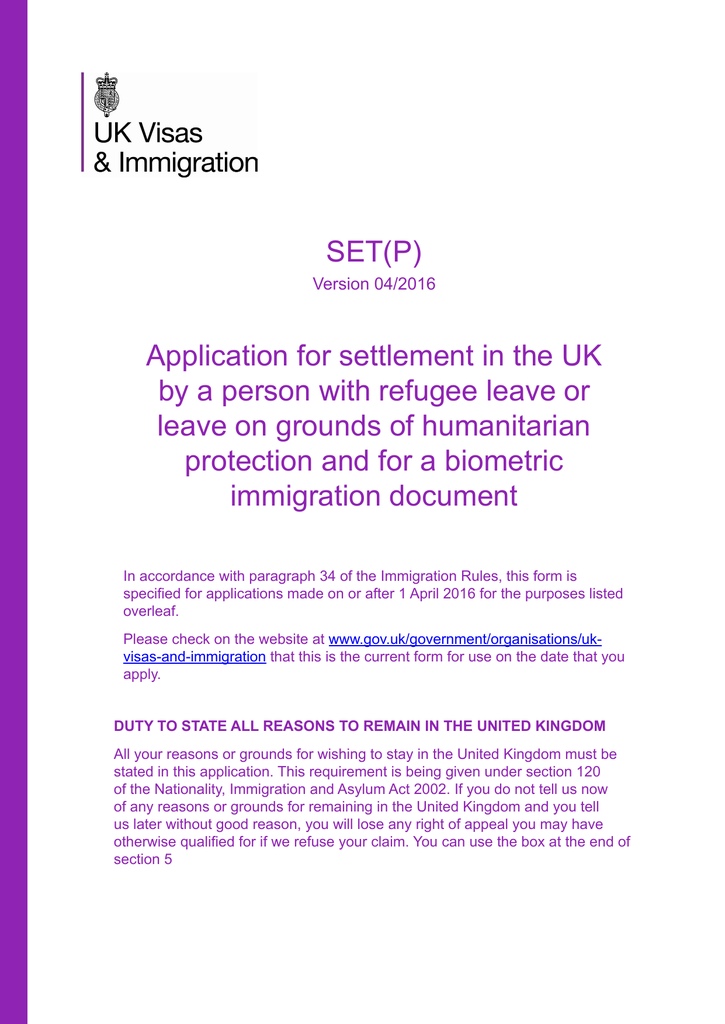 SET(P) Application for settlement in the UK by a person with