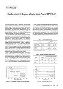 "High Conductivity Copper Alloy for Lead-Frame ""EFTEC"