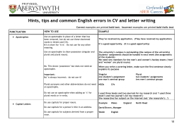 Hints, tips and common English errors in CV and letter writing