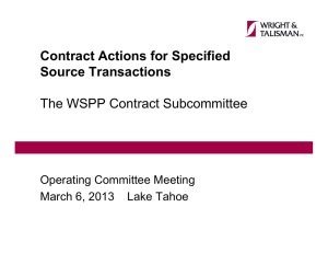 Contract Actions for Specified Source Transactions The WSPP