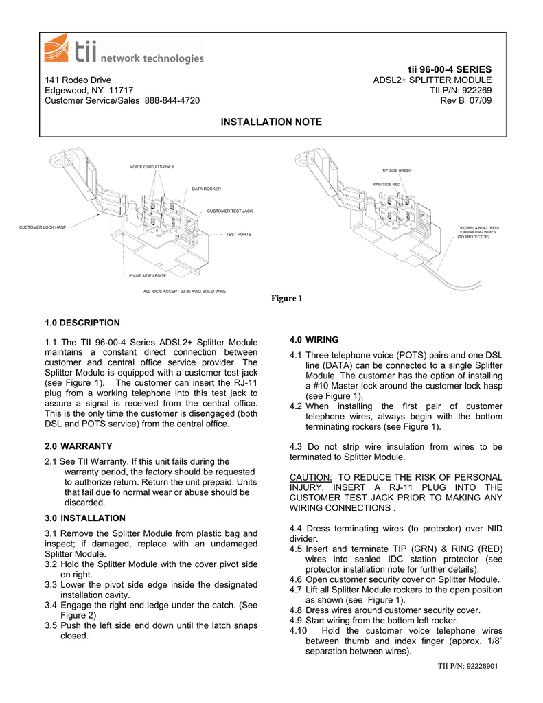 tii 96-00-4 SERIES INSTALLATION NOTE on