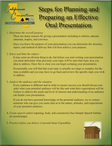 Steps for Planning and Preparing an Effective Oral Presentation
