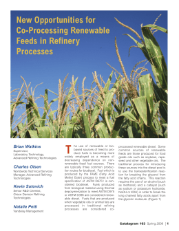 New Opportunities for Co-Processing Renewable Feeds