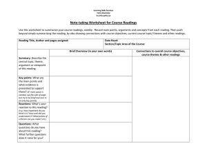 Note-taking Worksheet for Course Readings