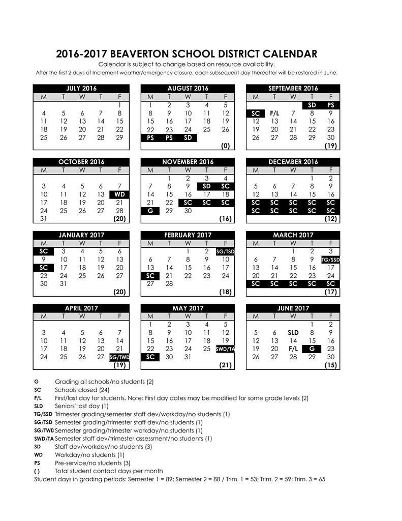 Beaverton School District Calendar 2016 2017 beaverton school district calendar