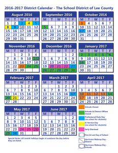 2016-2017 District Calendar - The School District of Lee County