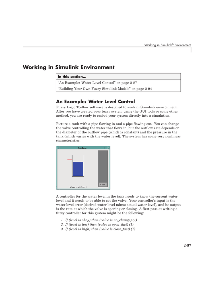 Working in Simulink Environment