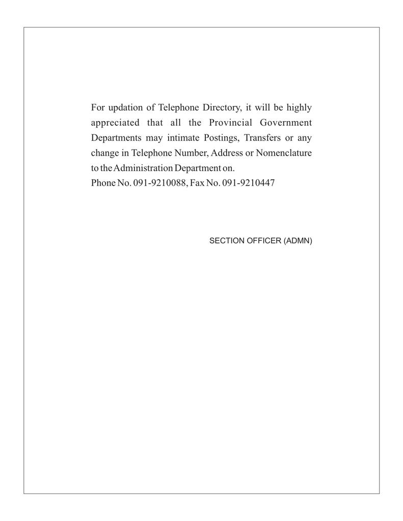 Telephone Directory - Khyber Pakhtunkhwa
