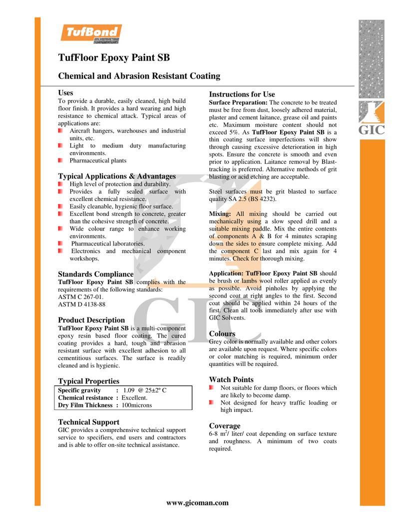TufFloor Epoxy Paint SB - Gulf International Chemicals (SAOG)