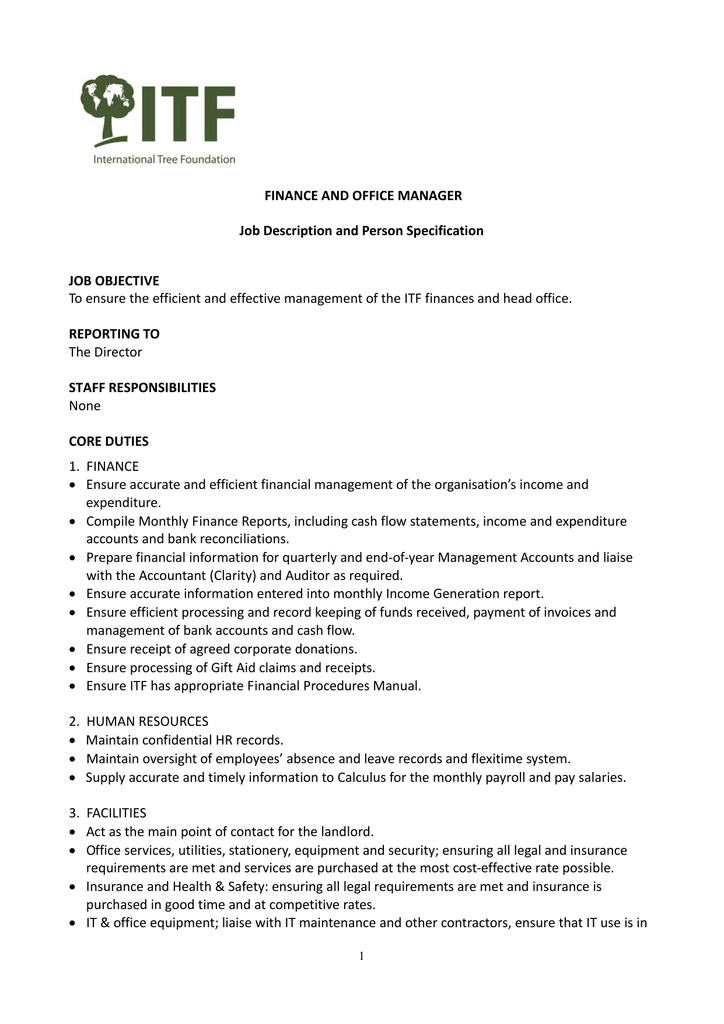 Finance And Office Manager Job Description And Person