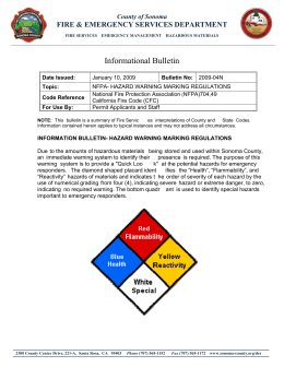 Informational Bulletin - NFPA Hazard Warning Marking Regulations