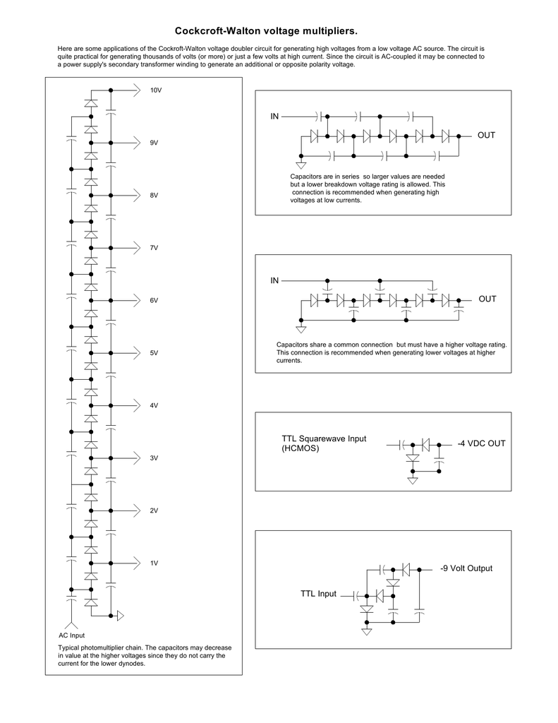 Cockcroft Walton Voltage Multipliers Multiplier Circuit Diagram Wiring